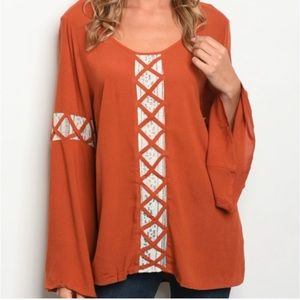 Anthropologie Entro bell sleeve lattice tunic